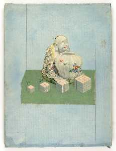 Joseph Cornell - Untitled (Chinese Porcelain of seated man and urn)