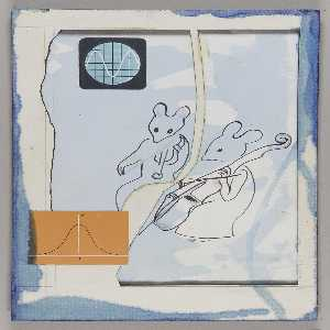 Joseph Cornell - The Musicians (mouse musicians, mounted on masonite)