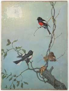 Joseph Cornell - Untitled (three birds on tree branches against blue sky)