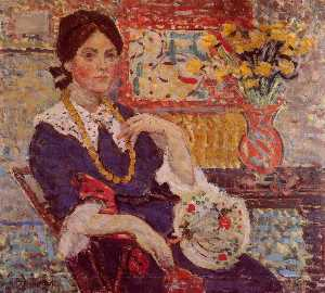 Maurice Brazil Prendergast - Le Rouge Portrait of Miss Edith King