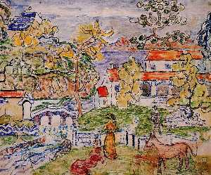 Maurice Brazil Prendergast - Figures and Donkeys (also known as Fantasy with Horse)