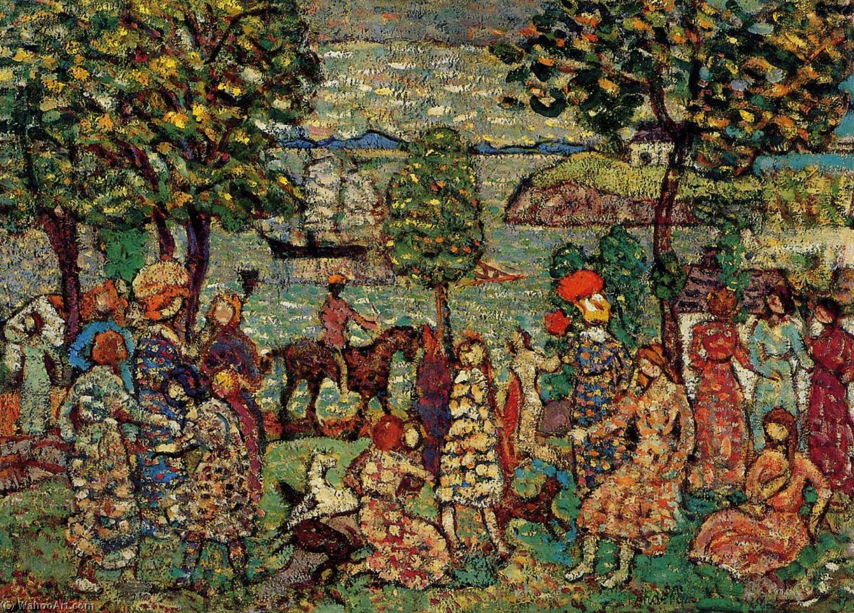 Fantasy (also known as Landscape with Figures), 1915 by Maurice Brazil Prendergast (1858-1924, Canada) | Museum Art Reproductions Maurice Brazil Prendergast | WahooArt.com