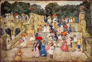 Maurice Brazil Prendergast - The Mall, Central Park (also known as Steps, Central Park or The Terrace Bridge, Central Park)