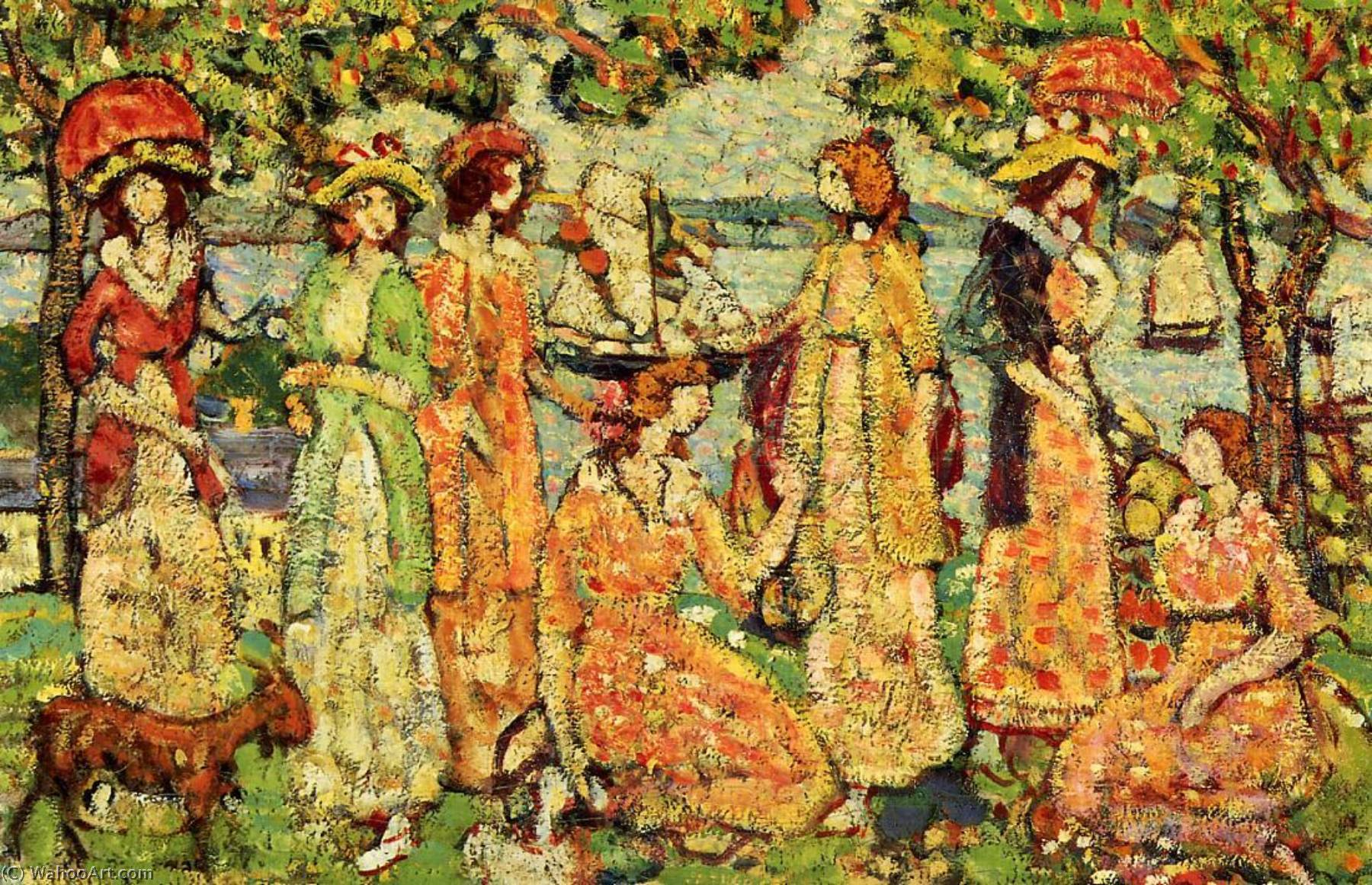 Order Reproductions | The Idlers, 1920 by Maurice Brazil Prendergast (1858-1924, Canada) | WahooArt.com