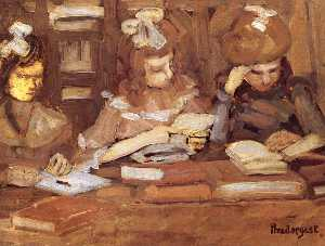 Maurice Brazil Prendergast - In the Library (also known as Three School Girls)