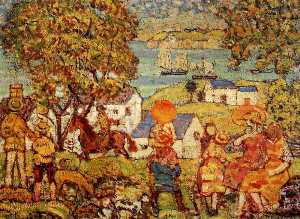 Maurice Brazil Prendergast - Landscape Figures, Cottages and Boats