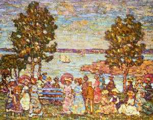 Maurice Brazil Prendergast - The Holiday (also known as Figures by the Sea or Promenade by the Sea)