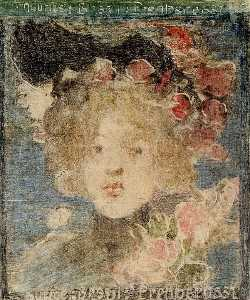 Maurice Brazil Prendergast - Head of a Girl (with Roses)