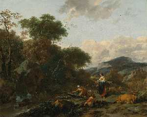 Nicolaes Berchem - A Landscape with Figures