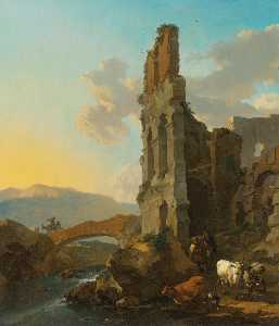 Nicolaes Berchem - Italianate river landscape with herdsmen by the ruins of an amphitheatre, and peasants crossing a bridge