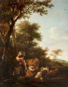 Nicolaes Berchem - Milkmaids and Cattle by a Spinney