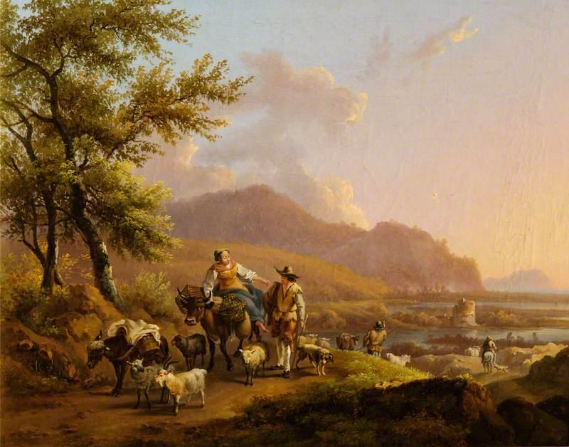 An Italianate Landscape with Herdsmen by Nicolaes Berchem (1620-1683, Netherlands) | Famous Paintings Reproductions | WahooArt.com