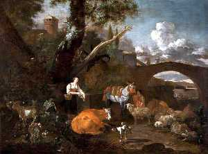 Nicolaes Berchem - Landscape with Figures and Animals