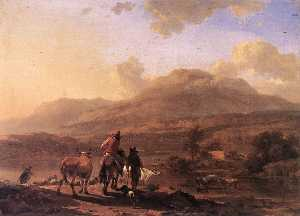 Nicolaes Berchem - Italian Landscape at Sunset