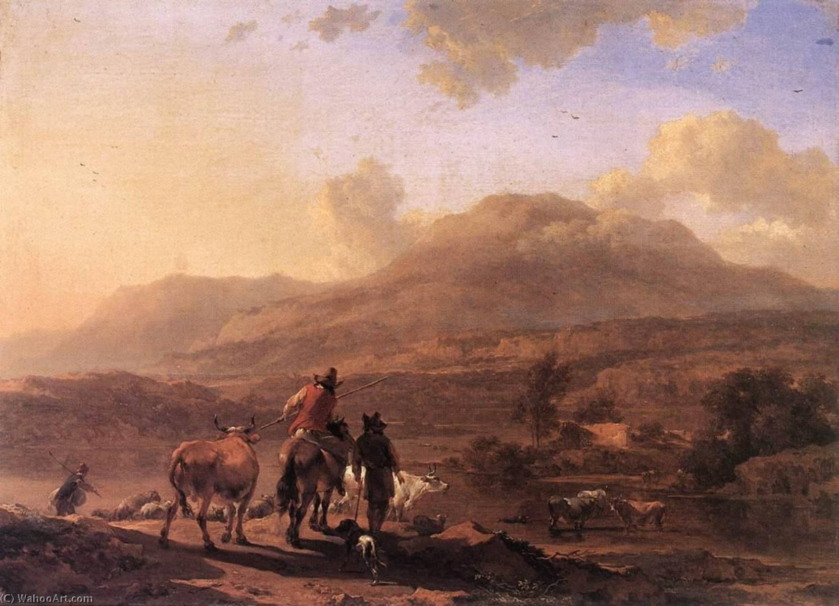 Italian Landscape at Sunset, 1672 by Nicolaes Berchem (1620-1683, Netherlands) | Oil Painting | WahooArt.com
