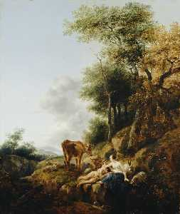 Nicolaes Berchem - Landscape with a Nymph and Satyr