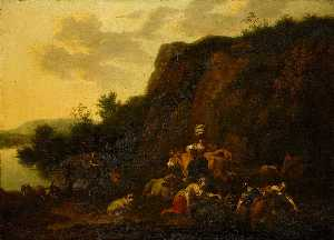 Nicolaes Berchem - Landscape with a Milkmaid and Women Gathering Reeds