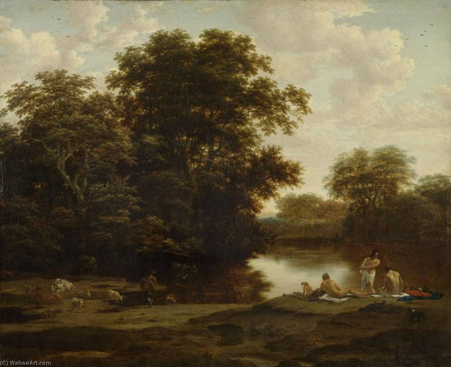 Landscape with Bathers by Nicolaes Berchem (1620-1683, Netherlands) | Oil Painting | WahooArt.com