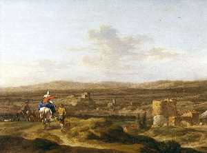 Nicolaes Berchem - Italian Landscape with Figures and Animals A Village on a Mountain Plateau