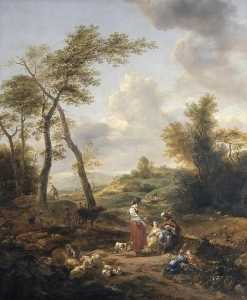 Nicolaes Berchem - Landscape with Jacob, Rachel and Leah