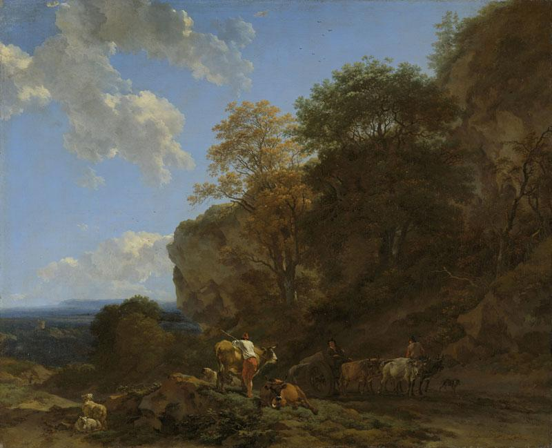Italian Landscape by Nicolaes Berchem (1620-1683, Netherlands) | Painting Copy | WahooArt.com