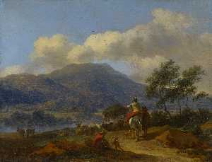 Nicolaes Berchem - Mountainous Landscape with Two Shepherds, a Shepherdess and Cattle
