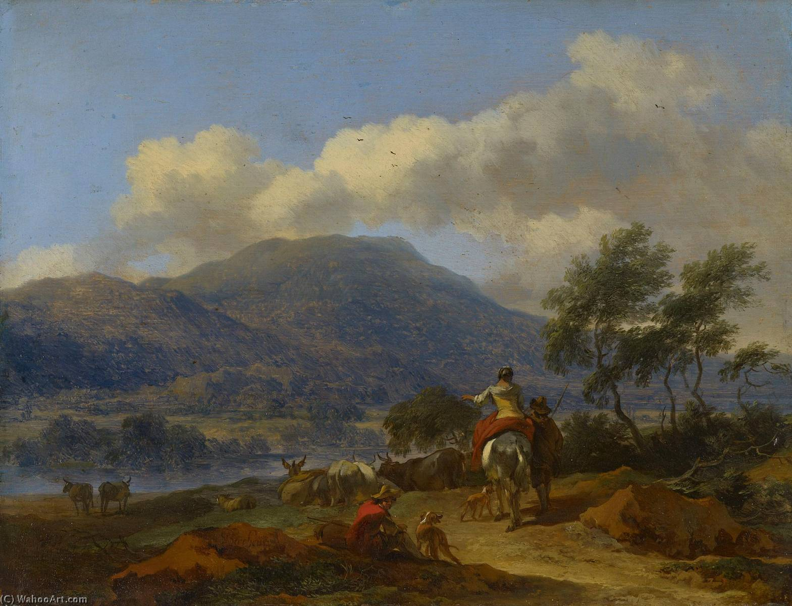 Mountainous Landscape with Two Shepherds, a Shepherdess and Cattle, 1675 by Nicolaes Berchem (1620-1683, Netherlands) | Museum Quality Reproductions | WahooArt.com