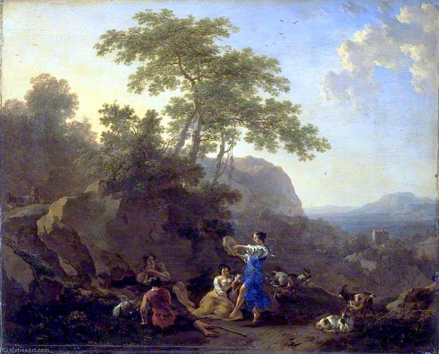 The Musical Shepherdess, 1658 by Nicolaes Berchem (1620-1683, Netherlands) | Museum Quality Reproductions | WahooArt.com