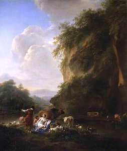Nicolaes Berchem - Landscape with Nymphs and Satyrs