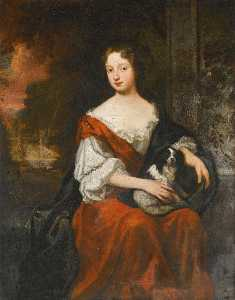 Godfrey Kneller - Portrait of a Lady, holding a dog, said to be Lady Henrietta Wentworth (1660 1686)