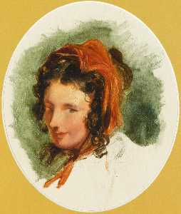 Edwin Henry Landseer - Head study of a girl, possibly Lady Louisa Russell (1812 1905)