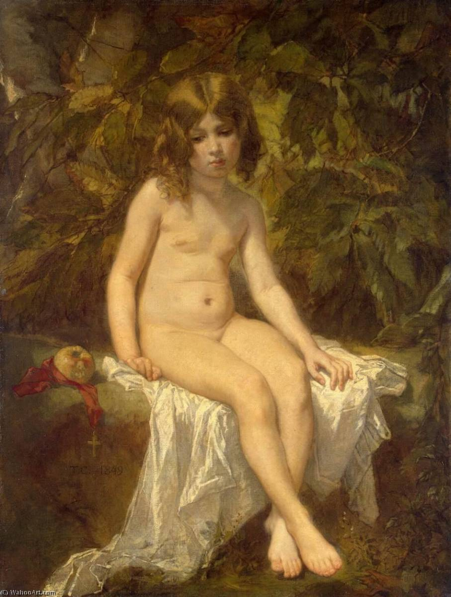 Little Bather, 1849 by Thomas Couture Senlis Villiers Le Bel (1815-1879, France) | Reproductions Thomas Couture Senlis Villiers Le Bel | WahooArt.com