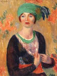 William James Glackens - Girl in Green Turban