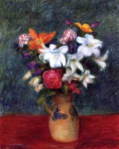 William James Glackens - Lilies and Other Flowers in a Vase