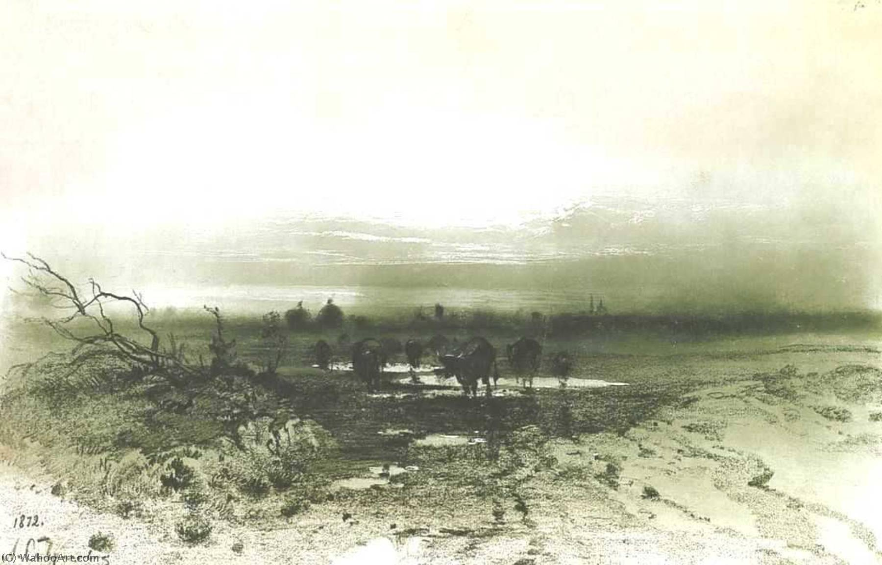 Marsh in the evening, Drawing by Alexei Kondratyevich Savrasov (1830-1897, Russia)