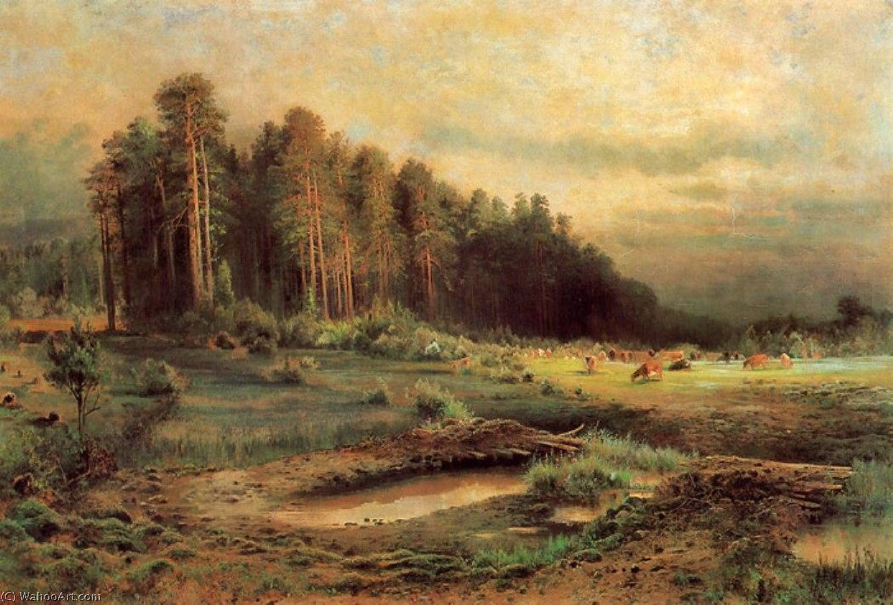 Losiny Ostrov in Sokolniky, Oil On Canvas by Alexei Kondratyevich Savrasov (1830-1897, Russia)