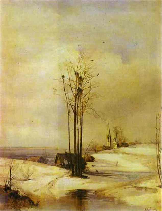 Early Spring. Thaw, Oil On Canvas by Alexei Kondratyevich Savrasov (1830-1897, Russia)