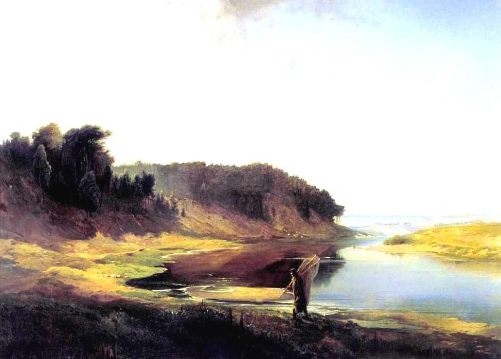 Landscape with a River and an Angler, Oil On Canvas by Alexei Kondratyevich Savrasov (1830-1897, Russia)