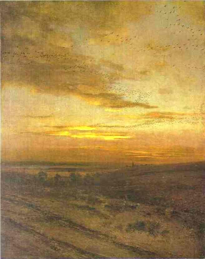 Evening. Birds Flying Away, Oil On Canvas by Alexei Kondratyevich Savrasov (1830-1897, Russia)