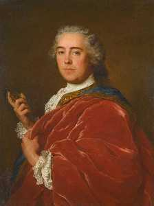 Marc Nattier - Portrait of a gentleman, wearing a red cloak and holding a miniature