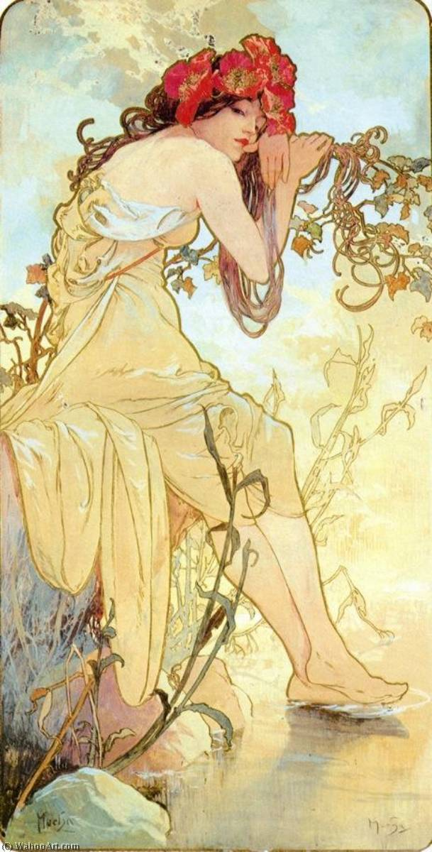 The Four Seasons Summer, 1896 by Alfons Maria Mucha (1860-1939, Czech Republic) | Museum Quality Reproductions | WahooArt.com