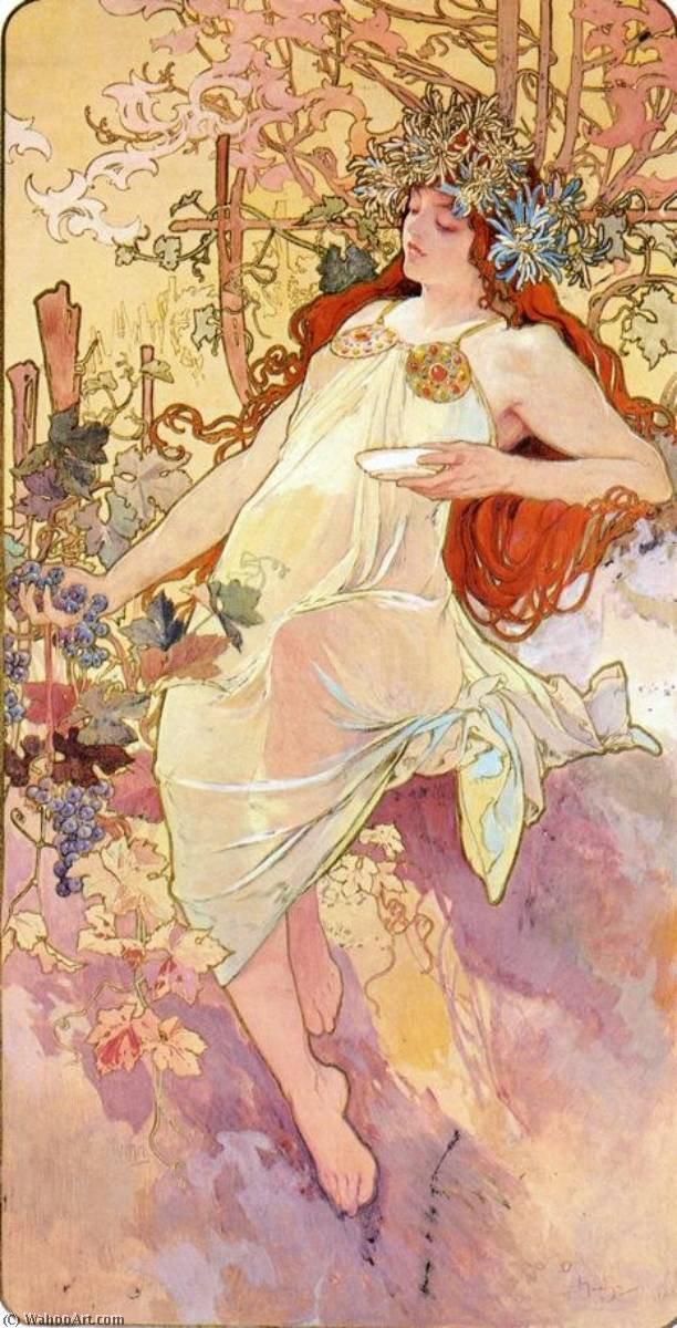 The Four Seasons Fall, Paper by Alfons Maria Mucha (1860-1939, Czech Republic)