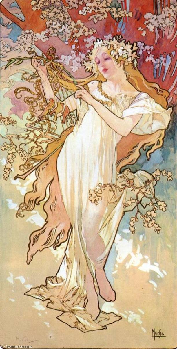 The Four Seasons Spring, 1896 by Alfons Maria Mucha (1860-1939, Czech Republic) | Museum Quality Reproductions | WahooArt.com