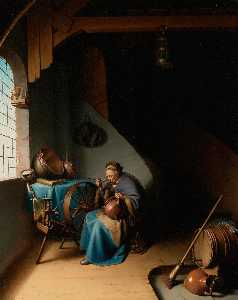Gerrit (Gérard) Dou - An Elderly Woman, Seated by a Window at her Spinning Wheel, Eating Porridge