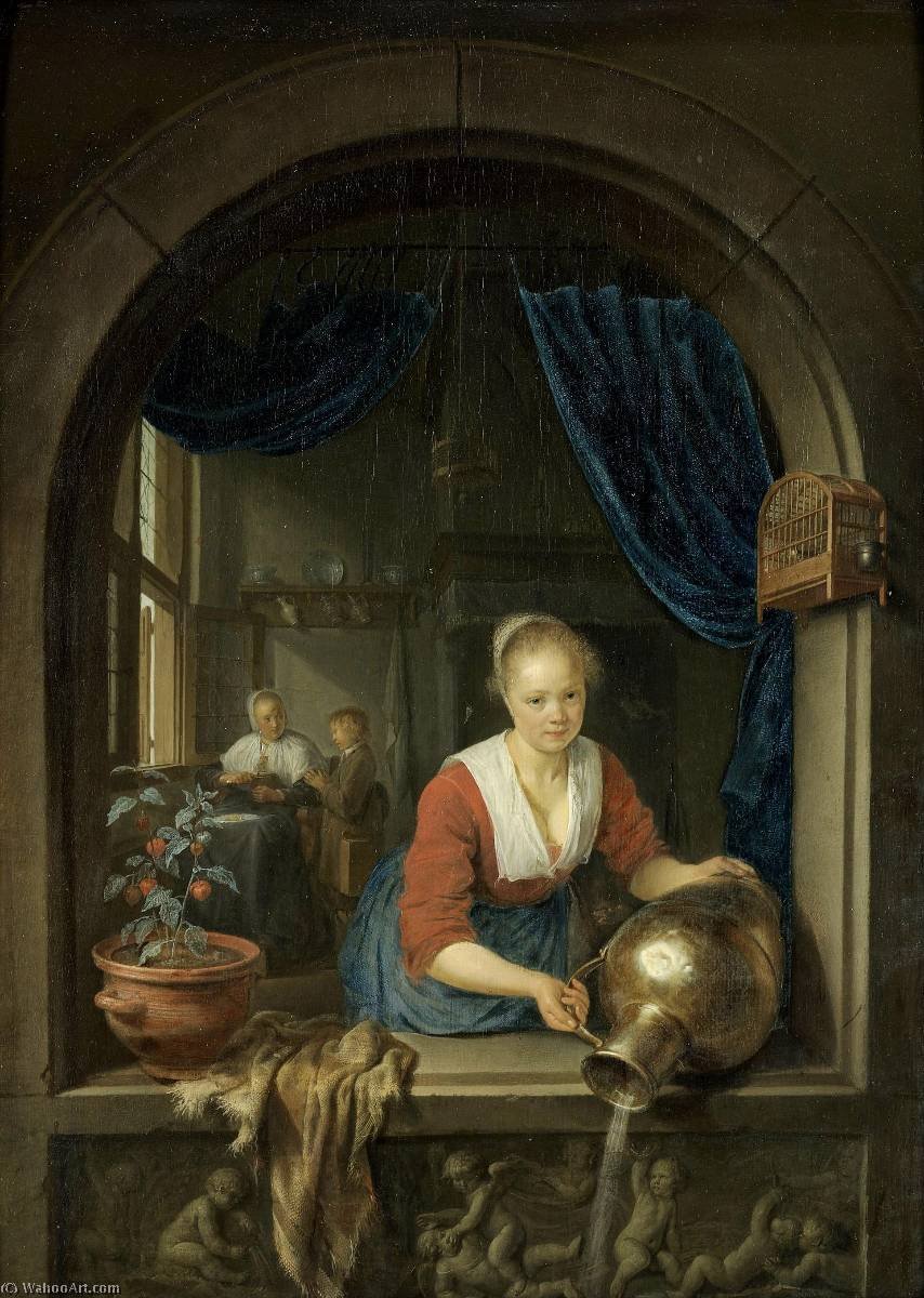 Maid at the Window, 1660 by Gerrit (Gérard) Dou (1613-1675, Netherlands) | Famous Paintings Reproductions | WahooArt.com