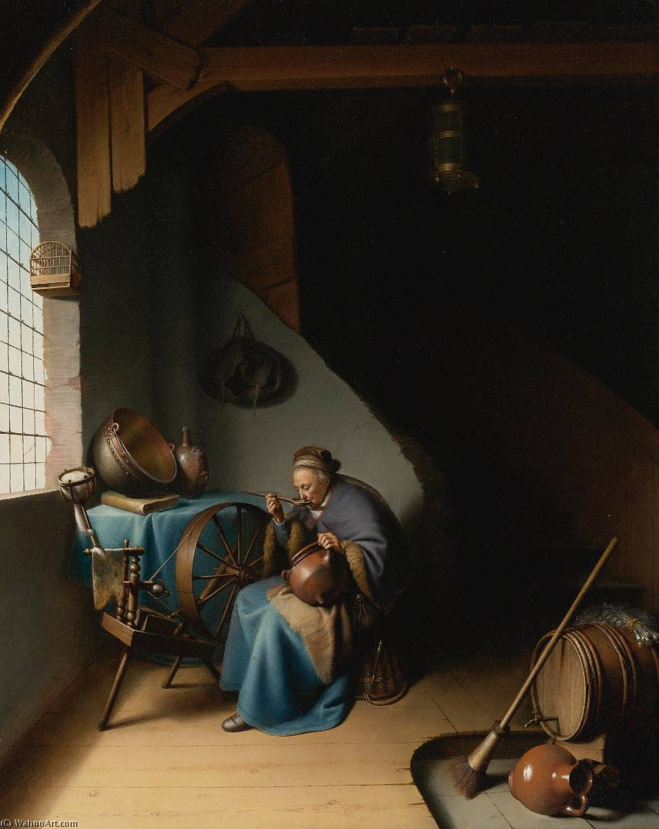 an elderly woman, seated by a window at her spinning wheel, eating porridge by Gerrit (Gérard) Dou (1613-1675, Netherlands) | Painting Copy | WahooArt.com