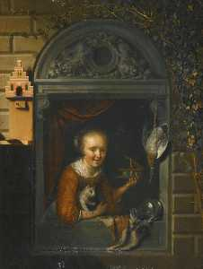 Gerrit (Gérard) Dou - A young girl at a window ledge with a cat and a mouse trap, a hung duck and a pewter ewer beside her