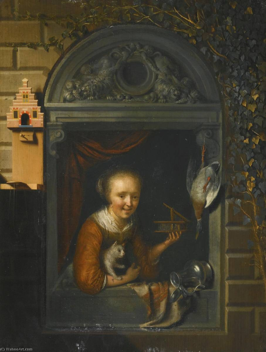 A young girl at a window ledge with a cat and a mouse trap, a hung duck and a pewter ewer beside her by Gerrit (Gérard) Dou (1613-1675, Netherlands) | Famous Paintings Reproductions | WahooArt.com