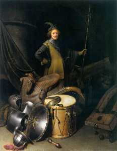 Gerrit (Gérard) Dou - A Soldier of the Leiden Civic Guard with an Arms Still Life