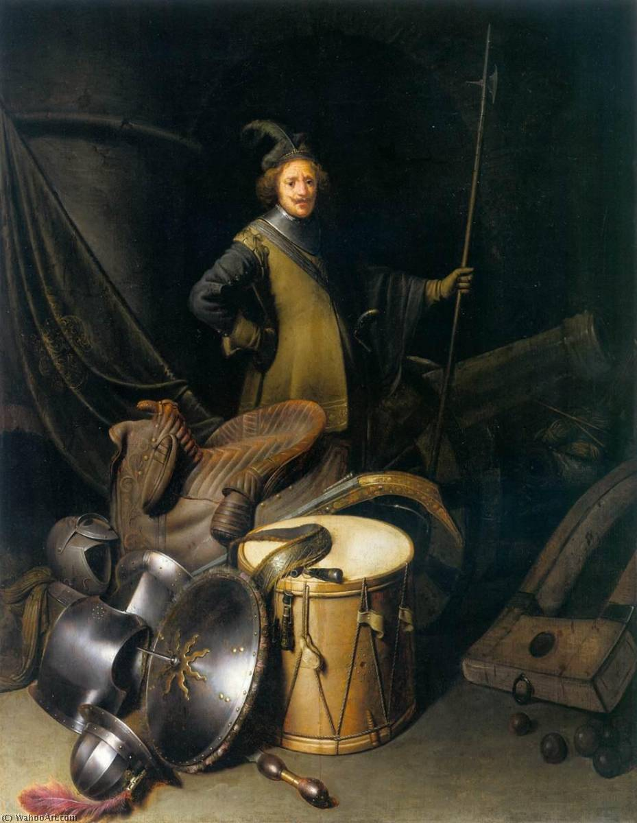 A Soldier of the Leiden Civic Guard with an Arms Still Life, 1630 by Gerrit (Gérard) Dou (1613-1675, Netherlands) | Oil Painting | WahooArt.com